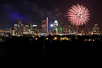 Colorful fireworks in the Austin, Texas night sky on July 4th
