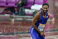 Jason RICHARDSON (left) of USA wins the 2nd Heat in 13.30 during the Sainsburys Anniversary Games at the Olympic Park, London, England on 24 July 2015. Photo by Andy Rowland.