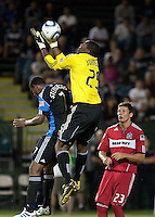 Sean Johnson makes the save over Khari Stephenson. The Chicago Fire defeated the San Jose Earthquakes 3-0 at Buck Shaw Stadium in Santa Clara, California on September 29th, 2010.
