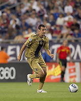 Philadelphia Union midfielder Andrew Jacobson (8) brings the ball forward. The Philadelphia Union defeated New England Revolution, 2-1, at Gillette Stadium on August 28, 2010.