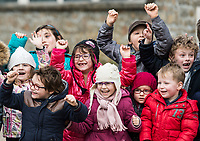 Picture by Alex Broadway/SWpix.com - 06/03/2018 - Cycling - 2018 Paris Nice - Stage Three - Bourges to Ch&acirc;tel-Guyon  - Local kids cheer as the breakaway passes.<br /> <br /> NOTE : FOR EDITORIAL USE ONLY. THIS IS A COPYRIGHT PICTURE OF ASO. A MANDATORY CREDIT IS REQUIRED WHEN USED WITH NO EXCEPTIONS to ASO/Alex Broadway MANDATORY CREDIT/BYLINE : ALEX BROADWAY/ASO