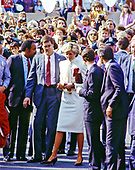 "Princess Diana is surrounded by security as he works the crowd following her visit and tour of the J.C. Penney department store ""Best of Britain"" merchandise sale with Prince Charles in Springfield, Virginia on November 11, 1985.<br /> Credit: Howard L. Sachs / CNP"