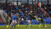Bristol Rovers' Ollie Clarke (c) attempts to control the ball during the Sky Bet League 1 match between Oldham Athletic and Bristol Rovers at Boundary Park, Oldham, England on 30 December 2017. Photo by Juel Miah / PRiME Media Images.