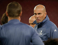 Zinedine Zidane during training session  at eve  the Champions League Group  soccer match between SSC Napoli and Real Madrid   at the San Paolo  Stadium inNaples March 06, 2017