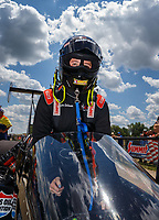 Jul 8, 2017; Joliet, IL, USA; NHRA top alcohol dragster driver Krista Baldwin during qualifying for the Route 66 Nationals at Route 66 Raceway. Mandatory Credit: Mark J. Rebilas-USA TODAY Sports