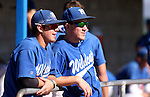 Wildcats Riley Ingram, left, and Bradley Lewis wait for the start of a college baseball game at Western Nevada College in Carson City, Nev., on Thursday, March 5, 2015. <br /> Photo by Cathleen Allison/Nevada Photo Source