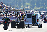 Feb 12, 2016; Pomona, CA, USA; NHRA top fuel driver Leah Pritchett during qualifying for the Winternationals at Auto Club Raceway at Pomona. Mandatory Credit: Mark J. Rebilas-USA TODAY Sports