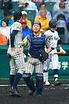 (L-R) Shota Hiranuma, Yusuke Kamon (Tsuruga Kehi),<br /> APRIL 1, 2015 - Baseball :<br /> Catcher Yusuke Kamon of Tsuruga Kehi talks with pitcher Shota Hiranuma in the top of the eighth inning during the 87th National High School Baseball Invitational Tournament final game between Tokai University Daiyon 1-3 Tsuruga Kehi at Koshien Stadium in Hyogo, Japan. (Photo by Katsuro Okazawa/AFLO)8