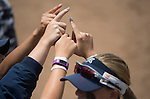 30 MAY 2016: University of Texas-Tyler players prepare for the title game against Messiah College during the Division III Women's Softball Championship held at the James I Moyer Sports Complex in Salem, VA.  University of Texas-Tyler defeated Messiah College 7-0 for the national title. Don Petersen/NCAA Photos