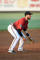 South Division third baseman Chuck Leblanc (27) of the Down East Wood Ducks on defense during the 2018 Carolina League All-Star Classic at Five County Stadium on June 19, 2018 in Zebulon, North Carolina. The South All-Stars defeated the North All-Stars 7-6.  (Brian Westerholt/Four Seam Images)