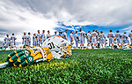 18 April 2015:  With UVM Long Stick Midfielder Henry Linde-Elmhirst's equipment in the foreground, the University of Vermont Catamount Men's Lacrosse Team lines up during pre-game activities prior to facing the University of Hartford Hawks at Virtue Field in Burlington, Vermont. The Cats defeated the Hawks 14-11 in the final home game of the 2015 season. Mandatory Credit: Ed Wolfstein Photo *** RAW (NEF) Image File Available ***