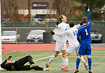NEW BRITAIN, CT-111817JS11- Lewis Mills' John Mudgett (14) celebrates with teammate Matt Gilbert (12) after scoring the game-tying goal during their Class M state final game against Suffield Saturday at Willow Brook Park in New Britain.<br /> Jim Shannon Republican-American