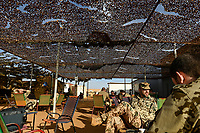 MALI, Gao, Minusma UN peace keeping mission, Camp Castor, german army Bundeswehr, coffee bar with Camouflage net
