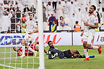 Goalkeeper Khalid Eisa Bilal of United Arab Emirates (R2) reaches for the ball after an attempt at goal by Hamid Ismaeil Khaleefa of Qatar (L, bottom) ) during the AFC Asian Cup UAE 2019 Semi Finals match between Qatar (QAT) and United Arab Emirates (UAE) at Mohammed Bin Zaied Stadium  on 29 January 2019 in Abu Dhabi, United Arab Emirates. Photo by Marcio Rodrigo Machado / Power Sport Images