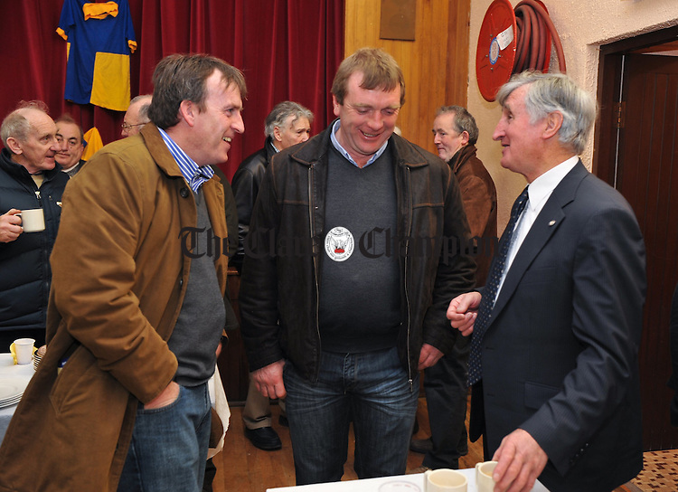 FormGer Clare hurling manager Len Gaynor with former players Fergus Tuohy, Clarecastle, and Jim Mc Inerney, Tulla, at the unveiling of a memorial plaque to John Moroney, Ruan and Clare hurler, at Ruan GAA field. Photograph by John Kelly.