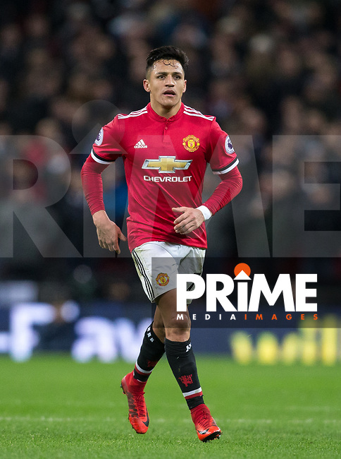 Alexis Sanchez of Man Utd during the Premier League match between Tottenham Hotspur and Manchester United at Wembley Stadium, London, England on 31 January 2018. Photo by Andy Rowland.
