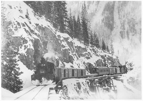 RGS K-27 #461 hauling cleanup train across Bridges 46-E &amp; 46-F.<br /> RGS  Ophir Loop, CO  Taken by Richardson, Robert W. - 11/19/1951