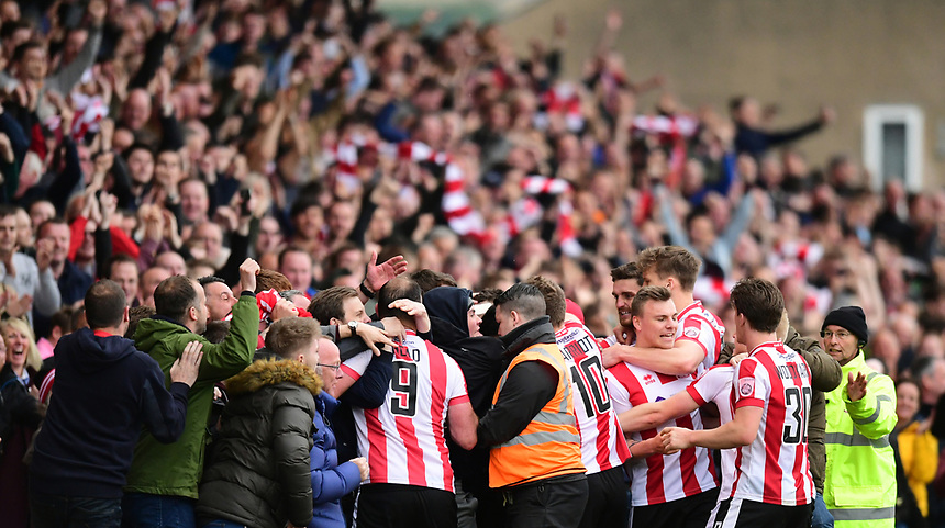 Lincoln City's Sam Habergham celebrates scoring his sides second goal with team-mates and fans<br /> <br /> Photographer Chris Vaughan/CameraSport<br /> <br /> Vanarama National League - Lincoln City v Torquay United - Friday 14th April 2016  - Sincil Bank - Lincoln<br /> <br /> World Copyright &copy; 2017 CameraSport. All rights reserved. 43 Linden Ave. Countesthorpe. Leicester. England. LE8 5PG - Tel: +44 (0) 116 277 4147 - admin@camerasport.com - www.camerasport.com