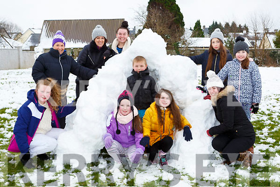 Families in St Johns Park Castleisland built an igloo after the snow storm on Friday l-r: Ann Marie Callaghan, Linda Keane, Maria Lucey, Zoe Nolan, Louise Callaghan, Orestas Bulksas , Lynsey Horan, Ciara Keane, Kate Carty and Eileen Carty