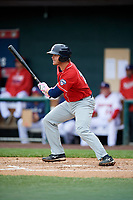 New Hampshire Fisher Cats catcher Ryan Hissey (20) follows through on a swing during the first game of a doubleheader against the Harrisburg Senators on May 13, 2018 at FNB Field in Harrisburg, Pennsylvania.  New Hampshire defeated Harrisburg 6-1.  (Mike Janes/Four Seam Images)