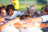 STANFORD, CA - August 30, 2019: Jojo Harber, Madison Haley, Abby Greubel at Maloney Field at Laird Q. Cagan Stadium. The Cardinal defeated the University of Pennsylvania Quakers 5-1.