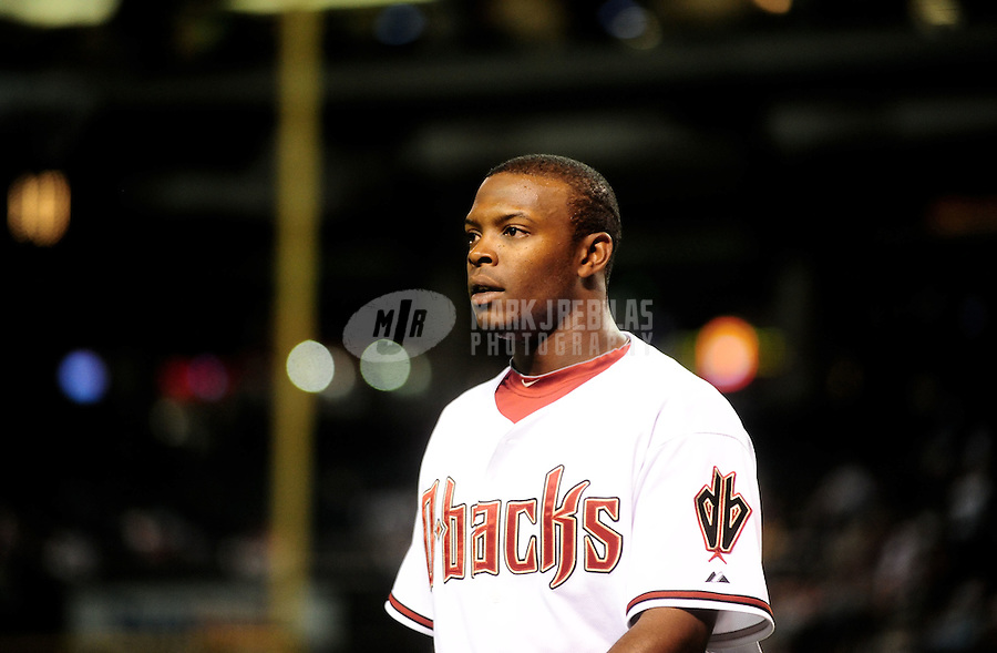 Apr. 6, 2010; Phoenix, AZ, USA; Arizona Diamondbacks outfielder Justin Upton against the San Diego Padres at Chase Field. Mandatory Credit: Mark J. Rebilas-
