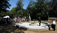 STAFF PHOTO ANDY SHUPE - The Rev. Steve Dixon, pastor of Christian Life Cathedral, speaks during a dedication ceremony Sunday, Sept. 21, 2014, for the Gehring Cemetery at Christian Life Cathedral in Fayetteville.