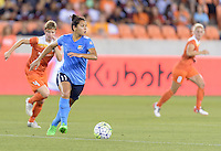 Houston, TX - Friday April 29, 2016: Raquel Rodriguez (11) of Sky Blue FC looks to pass the ball against the Houston Dash at BBVA Compass Stadium. The Houston Dash tied Sky Blue FC 0-0.