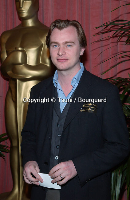 "Christopher Nolan, nominated for screenplay for ""Memento,"" arrives at the nominees luncheon for the 74th Annual Academy Awards at the Beverly Hilton Hotel in Beverly Hills, CA., Monday, March 11, 2002.           -            NolanChristopher02.jpg"