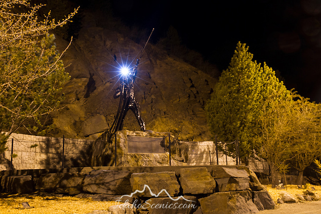 "Idaho, North, Shoshone County, Osburn. The miners memorial called ""Eternal Light"" that shines in remembrance of the 91 miners who lost their lives in the hard rock mining disaster at the Sunshine Silver mine on May 3,1972."