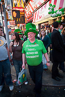 Revelers flock to Times Square in New York on Wednesday, March 17, 2010 after the St. Patrick's Day parade. (© Richard B. Levine)
