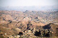 Agricultural land and villages to the south of Sana'a. Traditionally villages were built on the hill tops so that they were more easily defended from neighbouring tribes. Outside the main towns government control remains weak, often restricted to main roads patrolled by the army where vehicles travel in convoy.