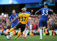 Adama Traore of Wolverhampton Wanderers takes a shot at the Chelsea goal during Chelsea vs Wolverhampton Wanderers, Premier League Football at Stamford Bridge on 10th March 2019