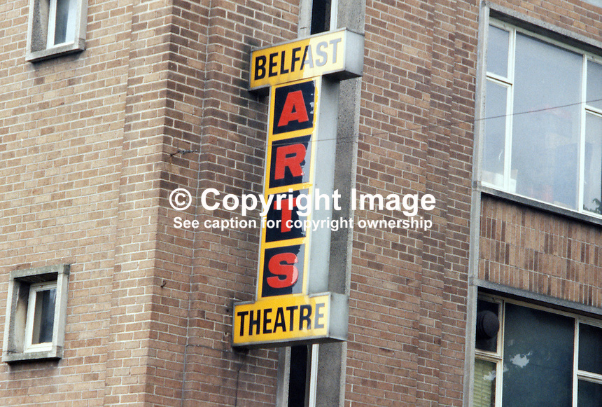 Belfast Arts Theatre, Botanic Avenue, Belfast, N Ireland, street sign, 1979080086..Copyright Image from Victor Patterson, 54 Dorchester Park, Belfast, UK, BT9 6RJ..Tel: +44 28 9066 1296.Mob: +44 7802 353836.Voicemail +44 20 8816 7153.Skype: victorpattersonbelfast.Email: victorpatterson@me.com.Email: victorpatterson@ireland.com (back-up)..IMPORTANT: If you wish to use this image or any other of my images please go to www.victorpatterson.com and click on the Terms & Conditions. Then contact me by email or phone with the reference number(s) of the image(s) concerned.