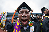 Raymond Smith-Byrd, BSE Industrial and Operations Engineering, during the procession of the University of Michigan spring commencement at Michigan Stadium in Ann Arbor, MI.