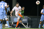 08 October 2013: Clemson's Thomas McNamara (5). The University of North Carolina Tar Heels hosted the Clemson University Tigers at Fetzer Field in Chapel Hill, NC in a 2013 NCAA Division I Men's Soccer match. Clemson won the game 2-1 in overtime.