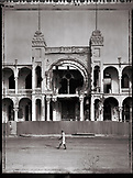 ERITREA, Massawa, the central post office in Massawa which was cluster bombed and riddled with bullet holes (B&W)