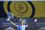 Magnus Cort Nielsen (DEN) Astana Pro Team takes over the Young Riders White Jersey after Stage 4 The Municipality Stage of the Dubai Tour 2018 the Dubai Tour&rsquo;s 5th edition, running 172km from Skydive Dubai to Hatta Dam, Dubai, United Arab Emirates. 9th February 2018.<br /> Picture: LaPresse/Fabio Ferrari | Cyclefile<br /> <br /> <br /> All photos usage must carry mandatory copyright credit (&copy; Cyclefile | LaPresse/Fabio Ferrari)
