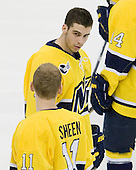 Mike Collins (Merrimack - 13) - The University of Notre Dame Fighting Irish defeated the Merrimack College Warriors 4-3 in overtime in their NCAA Northeast Regional Semi-Final on Saturday, March 26, 2011, at Verizon Wireless Arena in Manchester, New Hampshire.