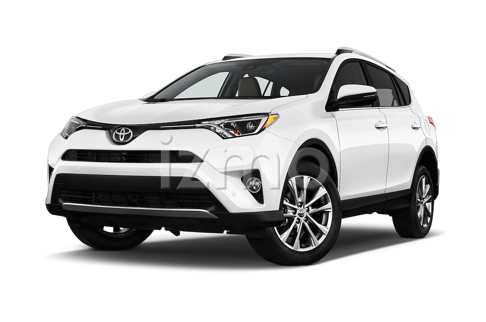 Stock pictures of low aggressive front three quarter view of 2016 Toyota RAV4 Limited 5 Door SUV Low Aggressive