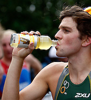 Photo: Richard Lane/Richard Lane Photography. GE Parc Bryn Bach Triathlon. 19/09/2010. Aaron Royle drinks Maxifuel after the Super Series Elite Mens' race.