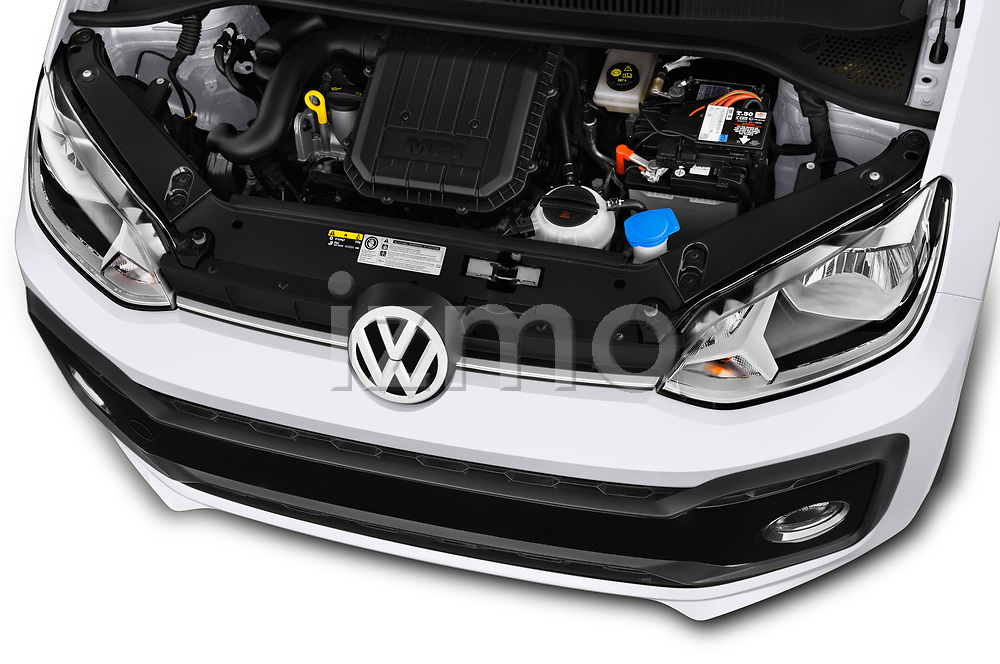 Car stock 2018 Volkswagen UP GTi 3 Door Hatchback engine high angle detail view