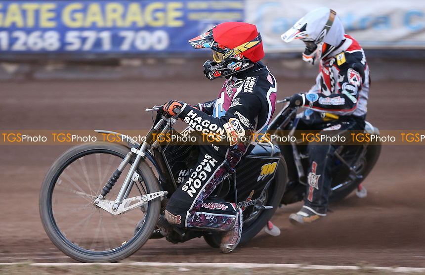 Heat 7: Andreas Jonsson (red) and Steve Worrall (white) - Lakeside Hammers vs Belle Vue Aces, Elite League Speedway at the Arena Essex Raceway, Pufleet - 10/07/15 - MANDATORY CREDIT: Rob Newell/TGSPHOTO - Self billing applies where appropriate - 0845 094 6026 - contact@tgsphoto.co.uk - NO UNPAID USE