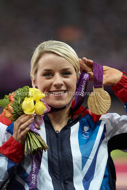 Britain's Josie Pearson receives her gold medal for the women's T51/52/53 discus at the London Paralympic Games - Athletics 7.9.12