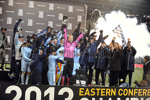 Nov 23, 2013; Kansas City, KS, USA; Sporting KC team members celebrate after winning the MLS Eastern Conference Championship soccer game against the Houston Dynamo at Sporting Park. Sporting KC won 2-1. Mandatory Credit: Denny Medley-USA TODAY Sports
