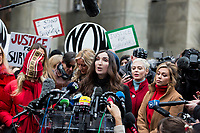 NEW YORK, NEW YORK - JANUARY 6: Sarah Ann Masse, center, speaks with members of the media after Harvey Weinstein arrives at the Manhattan courthouse. On January 6, 2020 in New York City. Weinstein pleaded not guilty to five counts of rape and faces a possible life sentence in prison.(Photo by Pablo Monsalve / VIEWpress)