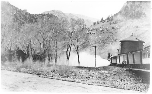 Looking NNE along north leg of wye toward water tank.<br /> D&amp;RGW  Cimarron, CO  Taken by Jukes, Fred