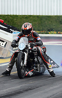Nov. 8, 2012; Pomona, CA, USA: NHRA pro stock motorcycle rider Andrew Hines during qualifying for the Auto Club Finals at at Auto Club Raceway at Pomona. Mandatory Credit: Mark J. Rebilas-