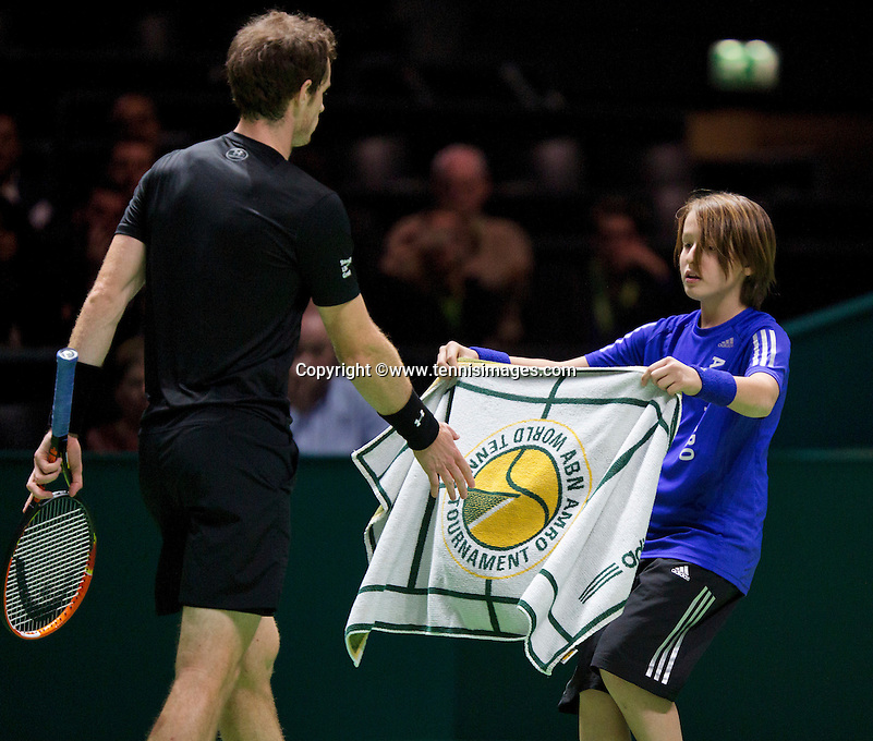 Februari 11, 2015, Netherlands, Rotterdam, Ahoy, ABN AMRO World Tennis Tournament, Andy Murray (GBR) - Nicolas Mahut (FRA)<br /> Photo: Tennisimages/Henk Koster