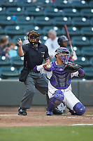 Home plate umpire Isaias Barba makes a strike call as Winston-Salem Dash catcher Yermin Mercedes (6) throws the ball back to his pitcher during the game against the Salem Red Sox at BB&T Ballpark on April 21, 2018 in Winston-Salem, North Carolina.  The Dash walked-off the Red Sox 4-3.  (Brian Westerholt/Four Seam Images)